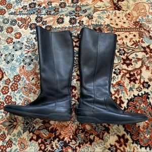 Gucci Black Pebbled Leather Knee-High Boots
